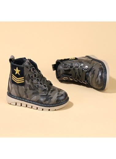 Kiko Kids Kiko TWG 6800 Kışlık Termal Kürklü Erkek Çocuk Kamuflaj Bot Ayakkabı Haki